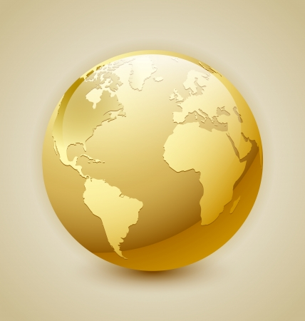 Illustration for Golden glossy Earth icon isolated on background - Royalty Free Image