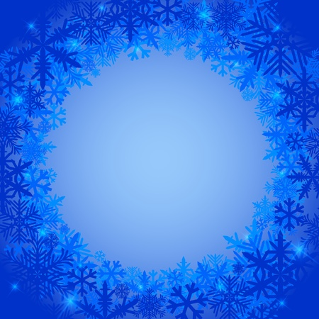 Frosty winter background with snowflakes