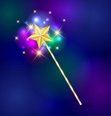 Illustration pour Golden fairy tale magic wand with glittering effect - image libre de droit