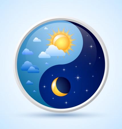 Day and night yin yang symbol on light blue background