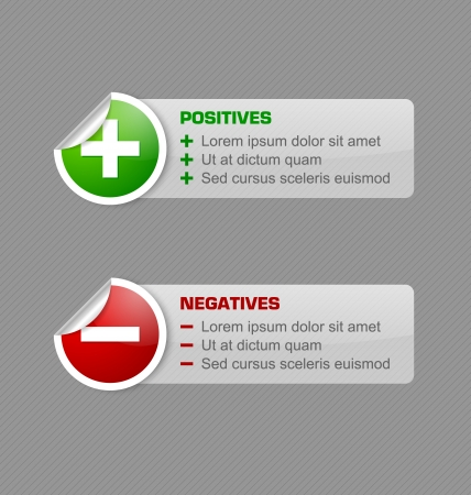 Positives and negatives stickers with semi transparent banners isolated on grey background