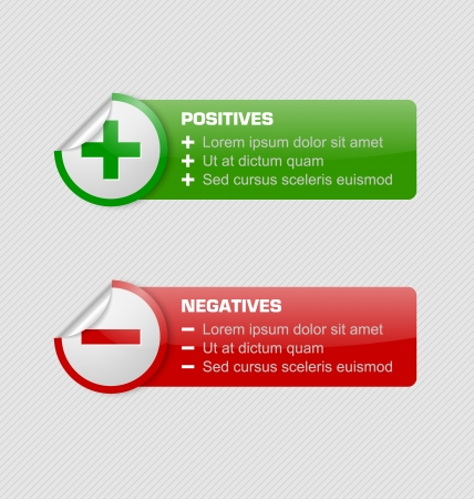 Positives and negatives stickers with banners isolated on grey background