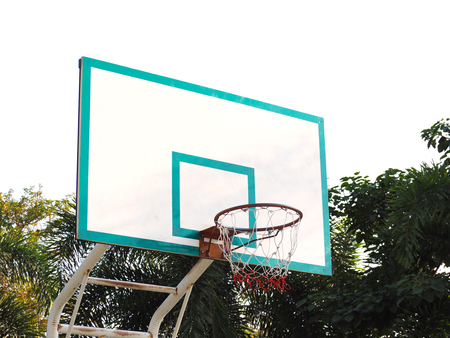 Basketball hoop cage in the summer park