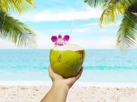 Hand holding coconut juice over summer beach background with coconut tree.の写真素材