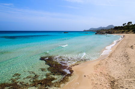 Azure sea of Son Mol beach on coast of Majorca island, Spain