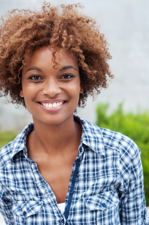 pretty african american college student on campusの写真素材