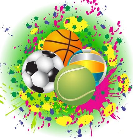 Set of Sport Balls with blazing pattern