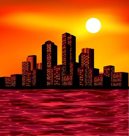 Illustration pour Night city scape with lights and skyline - image libre de droit