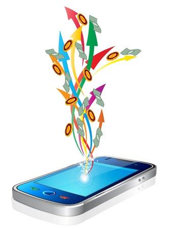 Illustration pour Money flying out of new style smart mobile phone - image libre de droit