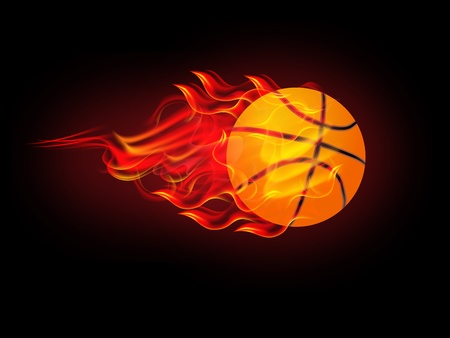 illustration of basketball poster on fire