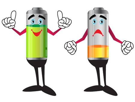 illustration of battery sand and happy cartoon