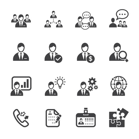 Illustration pour Management Icons and Human Resource Icons with White Background - image libre de droit