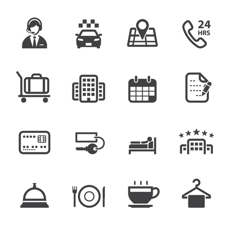 Hotel Icons and Hotel Services Icons with White Background
