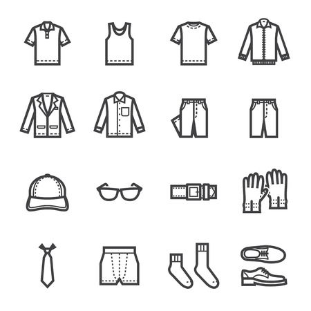 Ilustración de Men Clothing Icons with White Background - Imagen libre de derechos