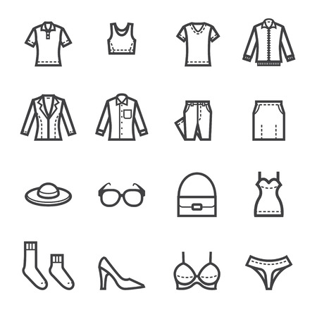 Ilustración de Women Clothing Icons with White Background - Imagen libre de derechos