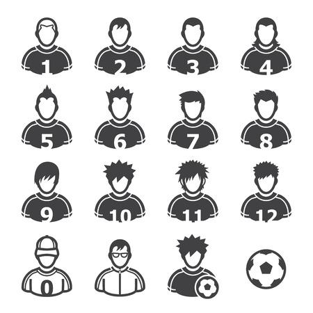 Ilustración de Soccer Player Icons with White Background - Imagen libre de derechos