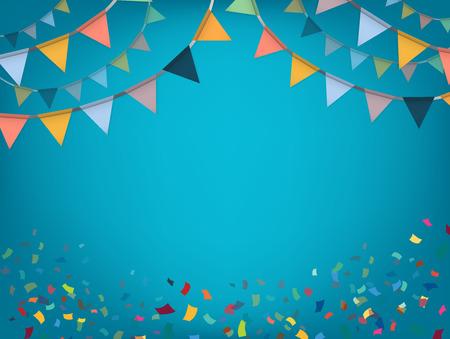 Illustration pour Celebrate banner. Party flags with confetti. Vector illustration. - image libre de droit