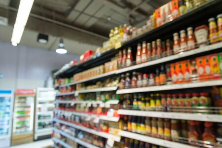 Product shelf, Supermarket in blurry for background