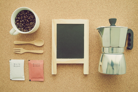 Above view of coffee setup - Retro filter effect