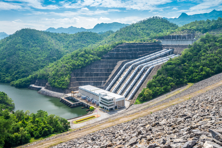 The power station at the Srinagarind dam on the Khwae Yai river in Kanchanaburi Thailand