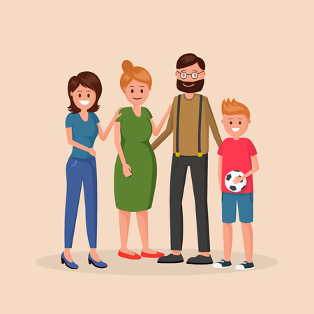 Photo pour Mother and father standing with two children of different age younger boy and older girl vector illustration isolated on light background - image libre de droit