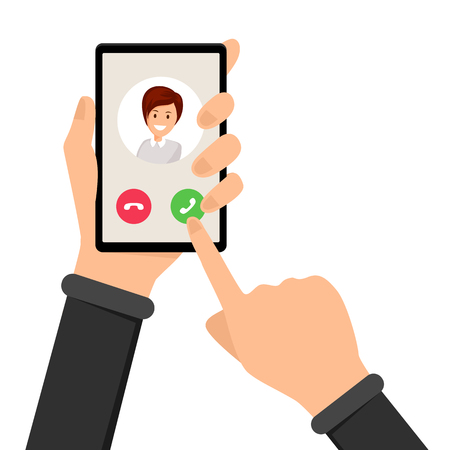 Illustration pour Incoming call, ringing phone vector illustration. Hand holding smartphone and finger pointing at answer button. Option interface, alternative on phone screen, accept or decline choice - image libre de droit