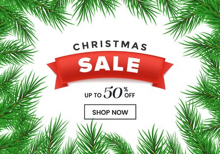 Illustration pour Christmas sale flat vector homepage template. Red ribbon with 50 percent discount in realistic fir tree branches frame. New Year, winter holidays special price offer landing page design layout - image libre de droit