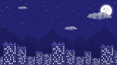 Illustration pour Night city view flat vector illustration. Sleeping quarters at night, cityscape with full moon and starry sky. Residential multi-storey apartment, building, megapolis houses architecture - image libre de droit