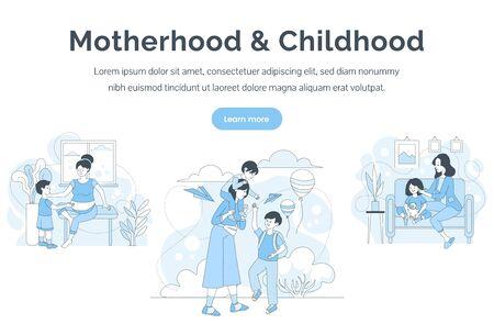 Motherhood and childhood landing page template. Women spending time with children vector cartoon outline illustration. Nanny service, kindergarten, parenting, babysitter web banner concept.