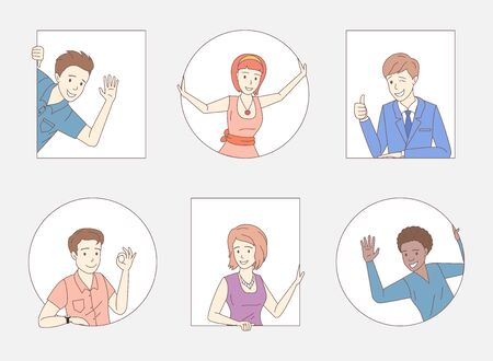 Illustration pour Group of people showing thumbs up, ok sign, waving hello. Friends, company staff, colleagues, business people characters. - image libre de droit