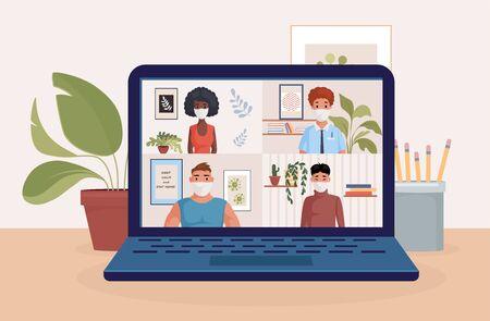 Ilustración de People on laptop screen talking with friends or colleagues vector flat illustration. Video conference, remote work. - Imagen libre de derechos