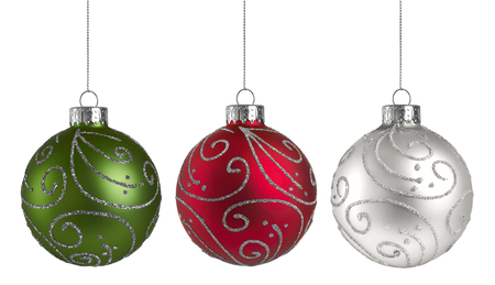 Christmas Ornaments isolated on a white background