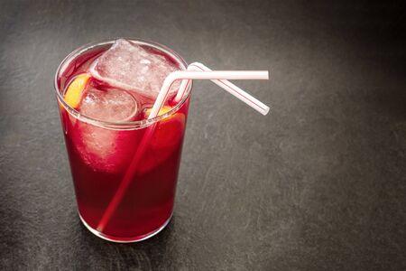 Tinto de verano, traditional Spanish summer drink, with copyspac