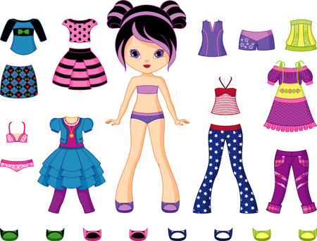 Illustration for Paper doll with set of clothes. - Royalty Free Image