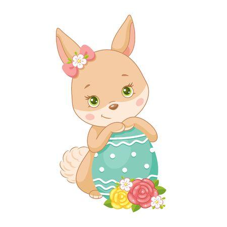 Illustration pour Cute Easter Bunny with egg on white background - image libre de droit
