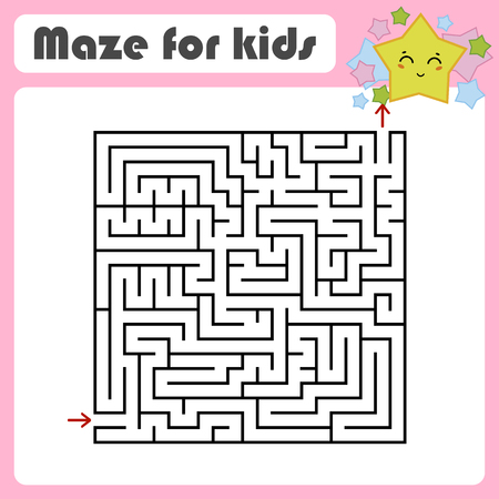 Abstract square maze. Kids worksheets. Activity page. Game puzzle for children. Cute cartoon star. Labyrinth conundrum. Vector illustration