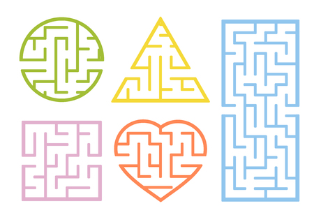 A set of mazes. Cartoon style. Visual worksheets. Activity page. Game for kids. Puzzle for children. Maze conundrum. Color vector illustration