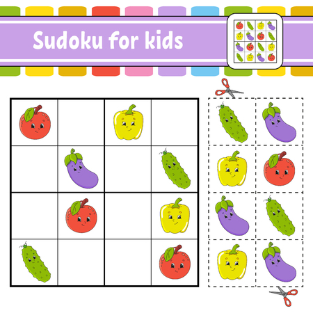 Sudoku for kids. Education developing worksheet. Activity page with pictures. Puzzle game for children. Logical thinking training. Isolated vector illustration. Funny character. Cartoon style