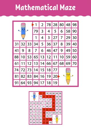 Mathematical maze. Game for kids. Funny labyrinth. Education developing worksheet. Activity page. Puzzle for children. Cartoon style. Riddle for preschool. Color vector illustration