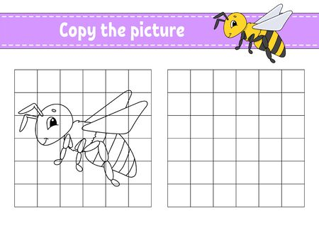 Illustration pour Striped bee.. Copy the picture. Coloring book pages for kids. Education developing worksheet. Game for children. Handwriting practice. Funny character. Cute cartoon vector illustration. - image libre de droit