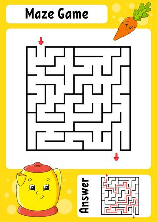 Square maze. Game for kids. Funny labyrinth. Education developing worksheet. Activity page. Puzzle for children. Cartoon style. Riddle for preschool. Logical conundrum. Color vector illustration.