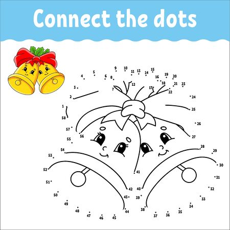 Illustration pour Dot to dot game. Draw a line. Christmas bells with holly leaves and bow. For kids. Activity worksheet. Coloring book. With answer. Cartoon character. - image libre de droit