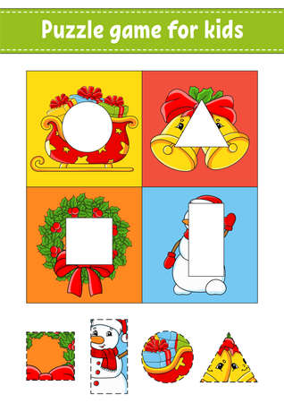 Illustration for Puzzle game for kids. Cut and paste. Christmas theme. Cutting practice. Learning shapes. Education worksheet. Circle, square, rectangle, triangle. Activity page. Cartoon character. - Royalty Free Image