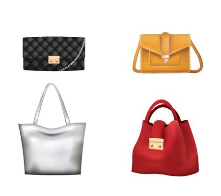 Illustration pour Colorful woman handbag set. vector illustration - image libre de droit