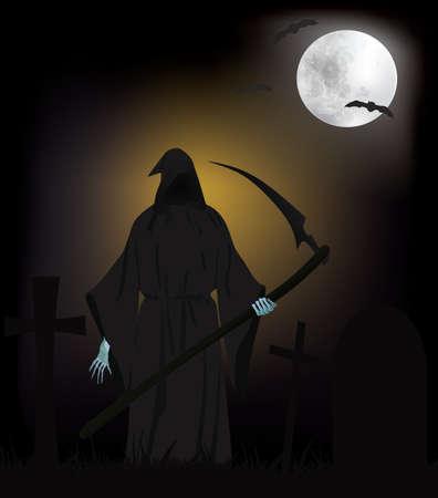 Illustration pour Grim Reaper on cemetery, vector - image libre de droit