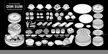 Set of isolated white silhouette Chinese food, Dim Sum for build your own. Cute hand drawn food vector illustration in white plane and no outline on black background.