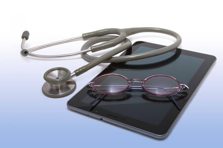 medical stethoscope on computer tablet ,concept modern healthcare and tecnology