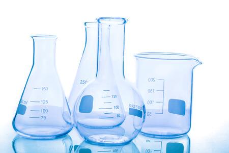 Group of empty laboratory flasks