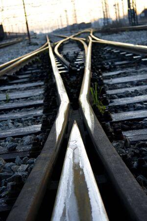 Train tracks, crossroad on early morning, sunrise