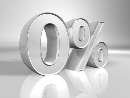 Zero percent 3d illustration